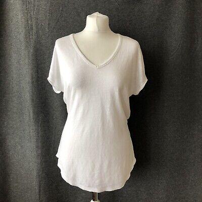 Joseph 100% Linen White V-Neck Short Sleeve Top Size S 8 10 summer Holiday