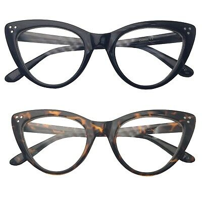 Super Cat Eye Glasses Vintage Inspired Fashion Mod Clear Lens Eyewear Large (Super Cat Eye Glasses)