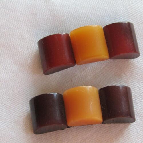 """Vintage Pair of Deco Shoe Clips Brown Butterscotch 1 3/4"""" L X 1/2"""" W"""