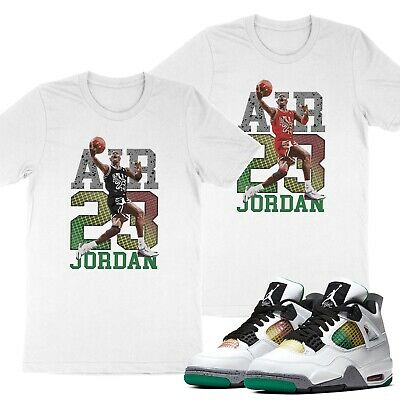 Unisex T-Shirt Match 23 Michael Air Jordan 4 AJ4 Do The Right Thing Lucid Green