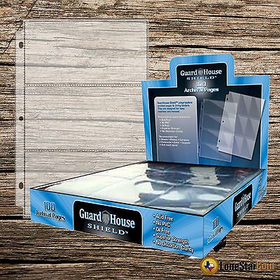 - 20 Pack Guardhouse Shield 3 Pocket Currency Holder Archival Polypropylene Pages