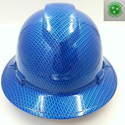 Full Brim Hard Hat Custom Hydro Dipped Carbon Fiber Candy Blue