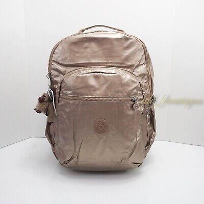 NWT Kipling BP4371 Seoul XL Backpack Laptop Travel Bag Nylon Golden Rod Metallic