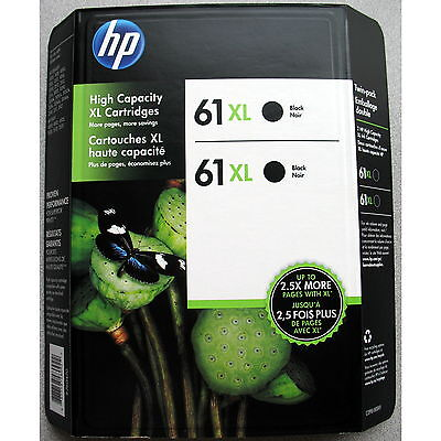 2-PACK HP GENUINE 61XL Black Ink (RETAIL BOX) ENVY 4500 4501 4502 4504 4505 4510