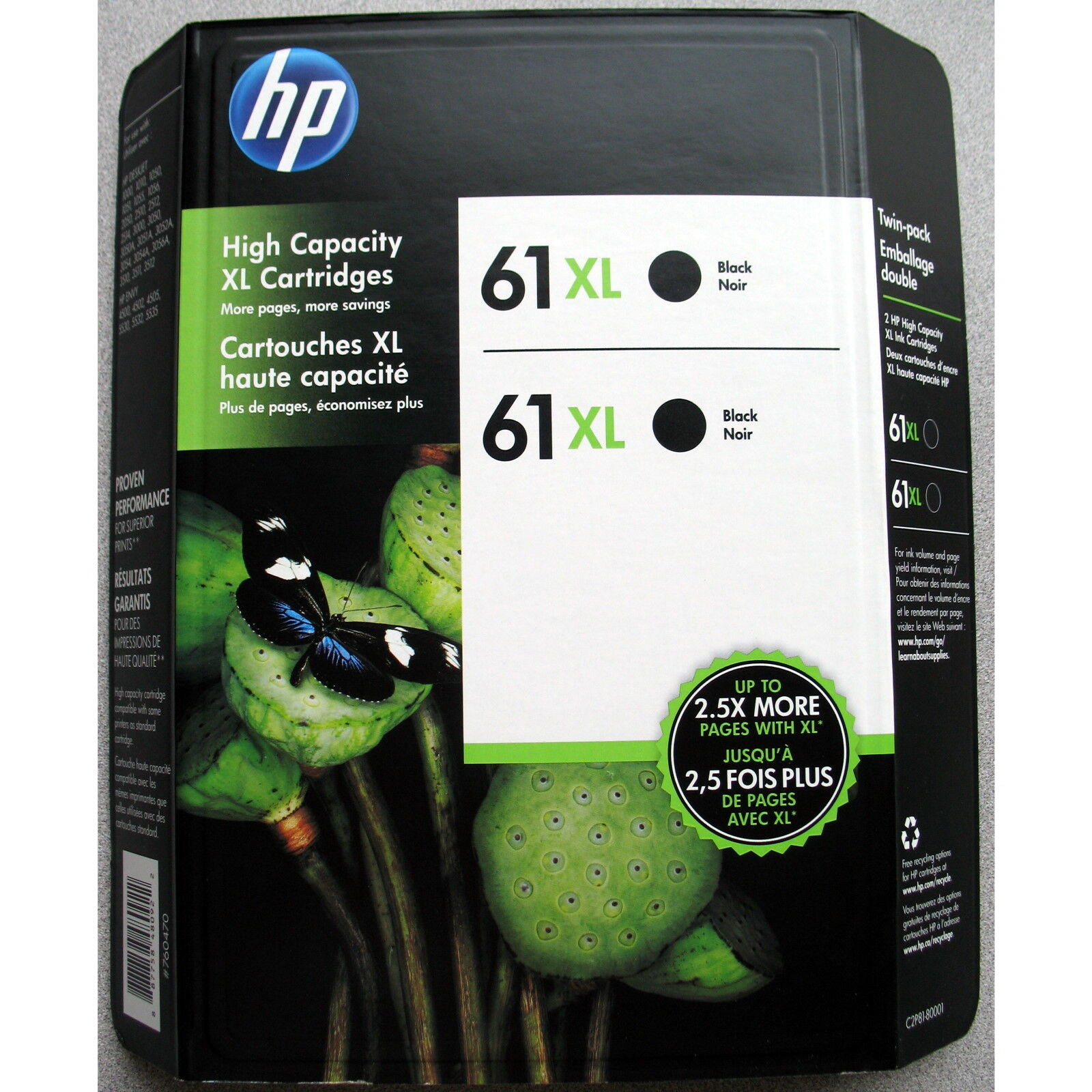 2-pack Hp Genuine 61xl Black Ink (retail Box) Envy 4500 4...