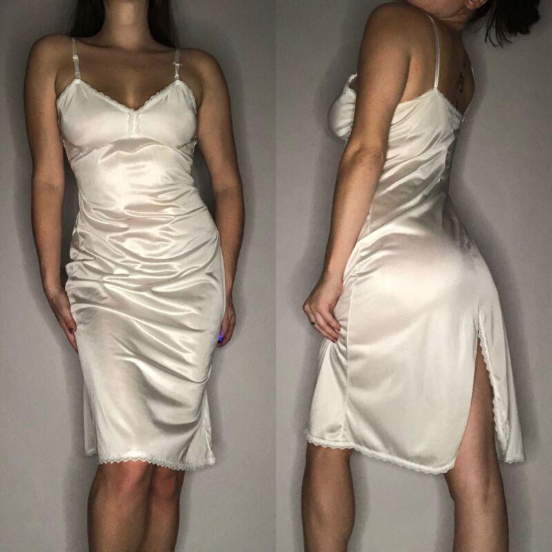 Vintage Off White Nylon Slip Dress Lingerie 60's Undergarments
