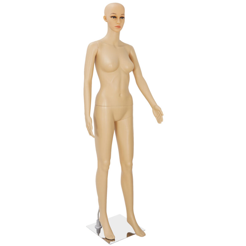 Female Mannequin Plastic Clothes Head Turns Dress Form Realistic Display w/ Base