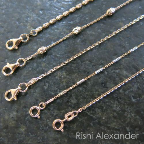 """REAL Unique Rose Gold Adjustable 9"""" or 10"""" Anklets SOLID Rose-Sterling Silver"""
