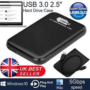 Hard Disk Drive Enclosure USB 3.0 2.5 External SATA HDD SSD Case Caddy Black