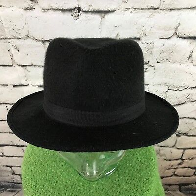 Ganster Hats (Mens One Sz Hat Black Hard Formed Retro Costume Cosplay Ganster)