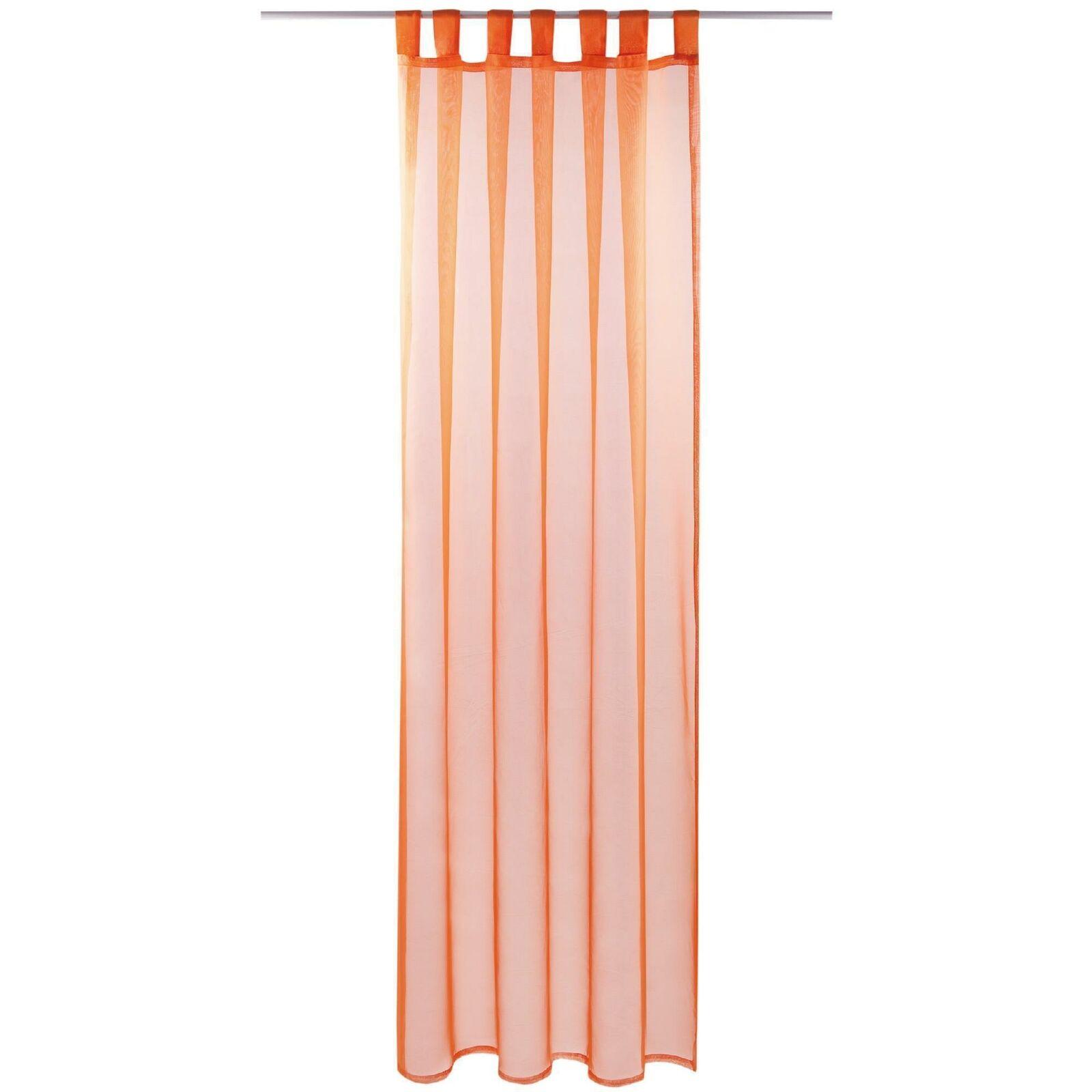 Schlaufenschal Vorhang mit Schlaufen Transparent Voile Uni Gardine große Auswahl orange - möhre