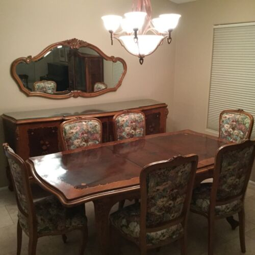 Antique Inlaid Wood Carved Dining Room Set