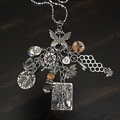 Lucky Boho Peace Love Tree Flower Butterfly Heart Queen Bee Crown Charm Necklace Peace Heart Necklace