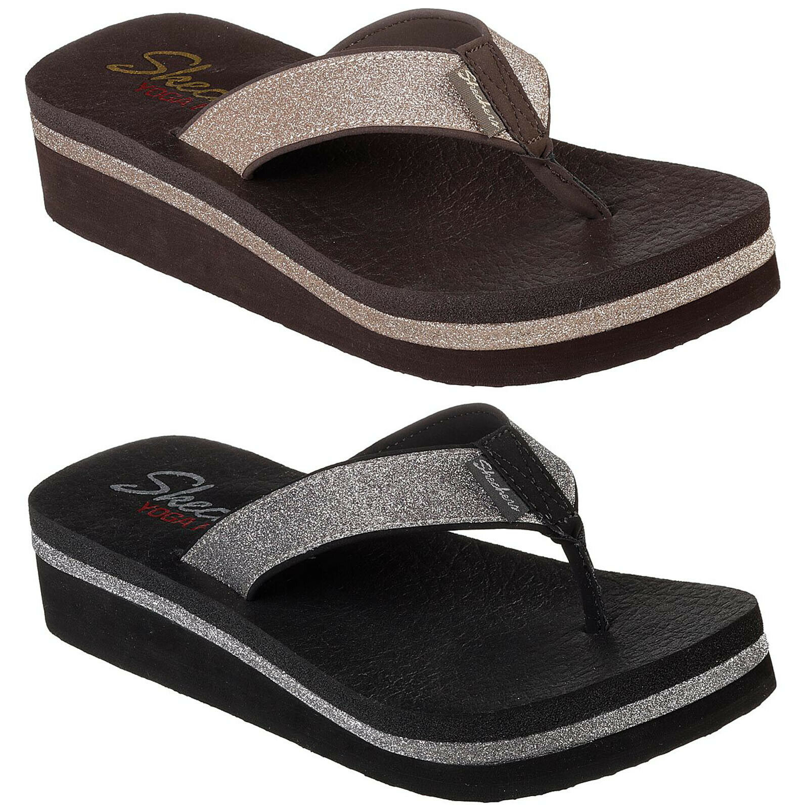 shop reputable site popular brand Details about Skechers Vinyasa - Unicorn Mist Flip Flops Womens Wedge Toe  Post Sandals 31605