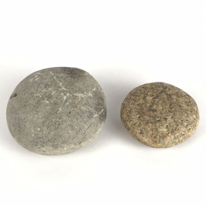 Lot 2 Native American Artifacts Round Stone Game Pieces Discoid