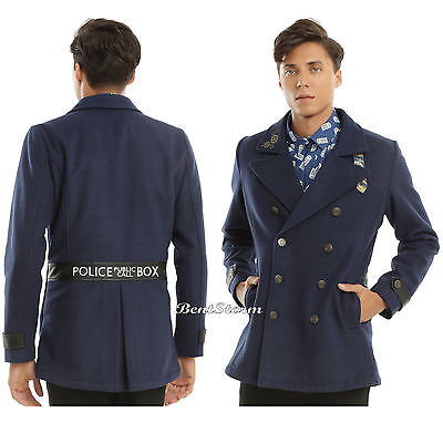 Tardis Jacket (BBC DR Doctor Who Embroidered Tardis Peacoat Coat Jacket Gears Buttons Mens M)