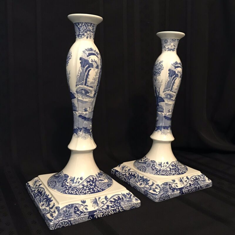 "Spode BLUE ITALIAN Candlesticks~Candle Holders~ Set Of 2~ 12 3/4"" Tall ~ ENGLAND"