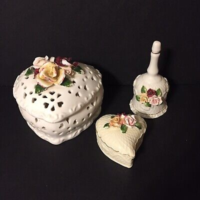 Set of 3 trinket box 3d roses shabby chic w/ matching bell