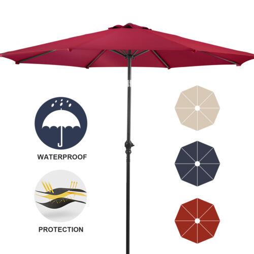 9 ft Patio Umbrella 8 Ribs Beach Garden Crank Tilt Outdoor Parasol Shade Yard
