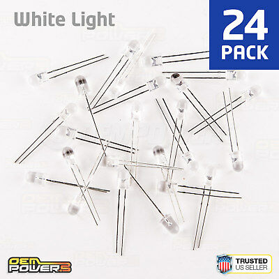 24 X Radioshack 5mm High-brightness White Led 2760017 Bulk Pack New