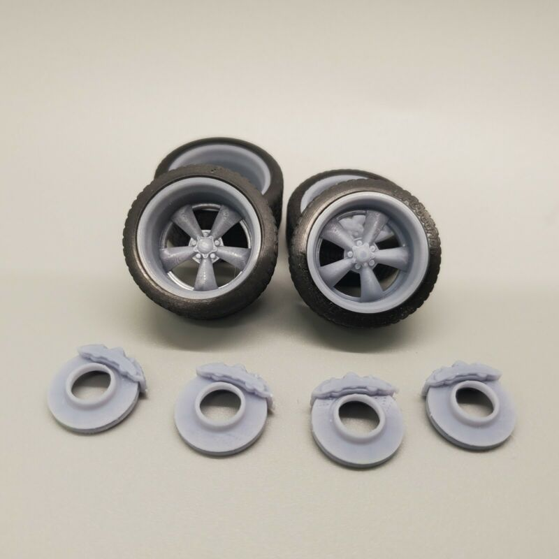 """1/24 Scale 3D Printed 20"""" Staggered Depth Torque Thrust Wheels w Tires & Brakes"""