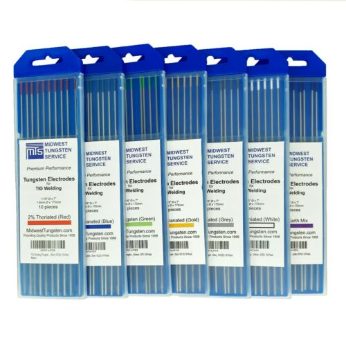 """TIG Welding Tungsten Electrodes (0.040"""", 1/16"""", 3/32"""", 1/8"""", 5/32"""") - 10-pack"""