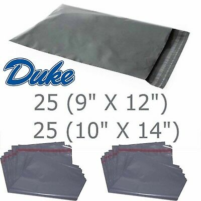 50 QUALITY BAGS MIXED POLY MAILING POSTAGE POSTAL SELF SEAL GREY 9x12 10x14