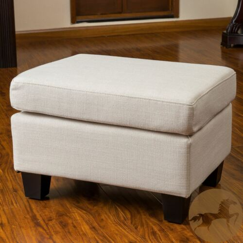 Christabel Beige Fabric Ottoman Footstool Furniture