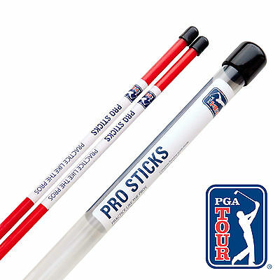 PGA TOUR Red Alignment Sticks - Golf Pro Sticks - Training Aid -Putting Aid Rods