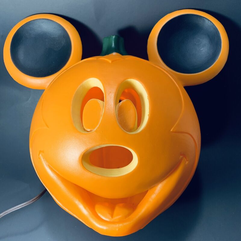 Plastic Mickey Mouse Light Up Jack O Lantern Halloween Pumpkin Decoration