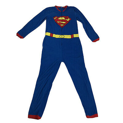 Superman Costume Men's Small S DC Comic Pajamas Cape Body suit Cosplay Halloween