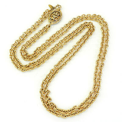 CHANEL Gold Plated CC Logos Charm Vintage Double Chain Necklace #1994a Rise-on