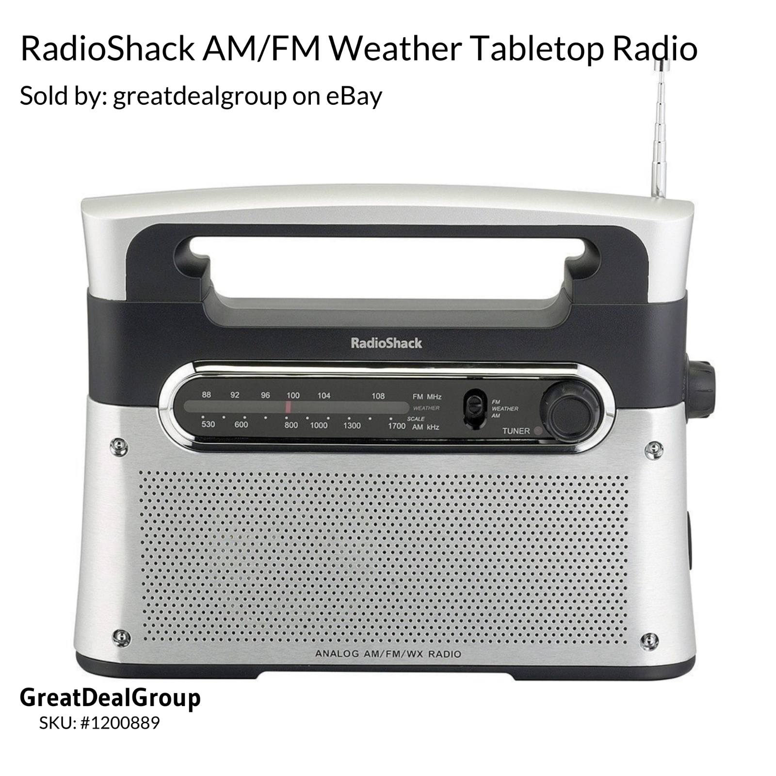 RadioShack Portable Analog Tuning AM/FM/Weather Tabletop Rad