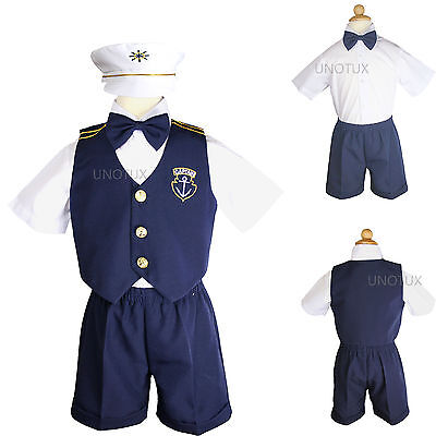 New  Infant  Boy & Toddler Navy Sailor Formal Shorts Suit Outfit white 0M - 3T - Toddler Sailor Suit
