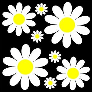 Daisy Flower Set - car sticker decal flower graphic transfer camper retro art VW