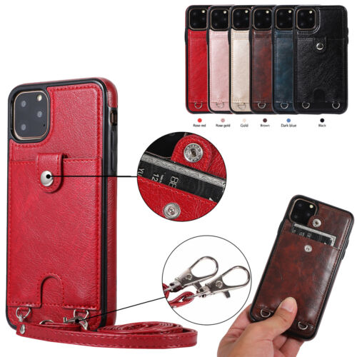 Leather Cross Body Long Strap Card Wallet Case Cover For App