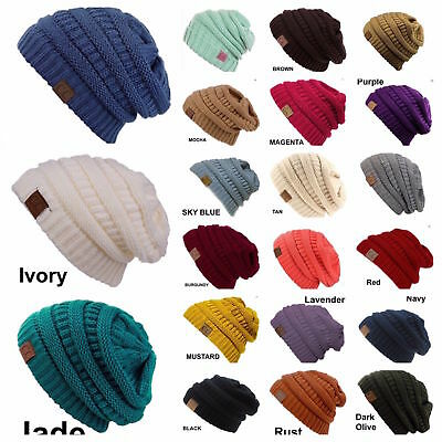 (Men Women Plain CC Beanie Cap Slouch Bubble Knit Winter Ski Gift Oversize Hat)