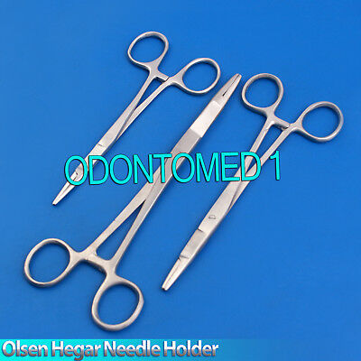 Set Of 3 Olsen Hegar Needle Holder 5.5 6.5 7.5 Surgical Dental Instruments