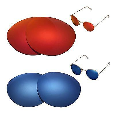 WL Polarized Fire Red + Ice Blue Lenses For Ray-Ban Round Metal RB3447 (Rb3447 Polarized)