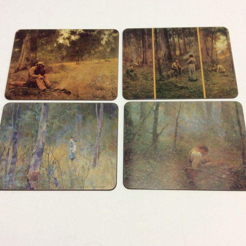 4 Vintage Placemats Corkback Classic Australian Fine Art Frederick McCubbin