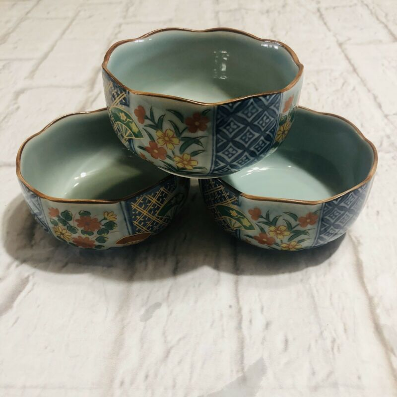 Vtg Japanese Scalloped Edge Bowls Set Of 3 Marked Blue Gray Porcelain