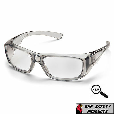 Pyramex Emerge Gray 1.5 Clear Full Magnifying Lens Reader Safety Glasses Z87