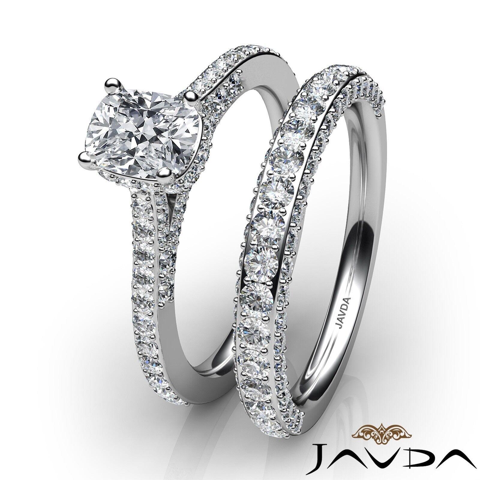 2.85ctw Pave Circa Halo Bridal Cushion Diamond Engagement Ring GIA F-VS1 W Gold 3
