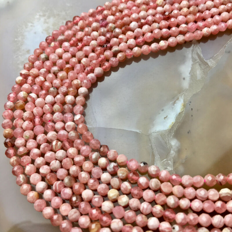 """Natural Rhodochrosite Faceted Round Beads 2mm 3mm 15.5"""" Strand"""