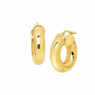 Polished Wide Hoop Earrings in 18K Gold-Plated Bronze, Made in Italy