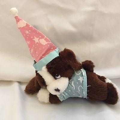 "Brown Puppy Dog Blue Night Shirt Pink Cap Hat Vintage Plush 7"" 1993 Giftco Toy"
