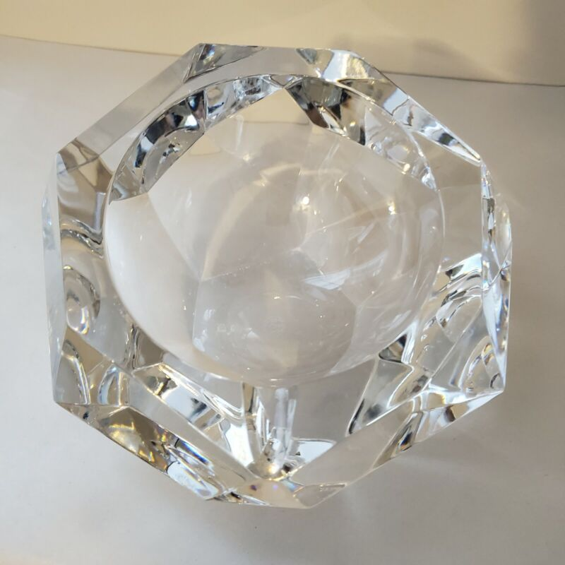 Baccarat France Crystal Faceted Cut Ashtray