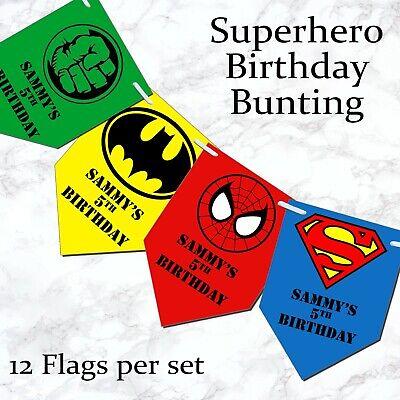 Personalised Superhero Square Bunting Banner Birthday Party - Hero's Birthday