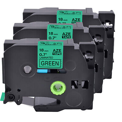 3pk Compatible With Brother Pt-2730 Tz-741 Tze-741 Blackgreen Label Tape 0.7