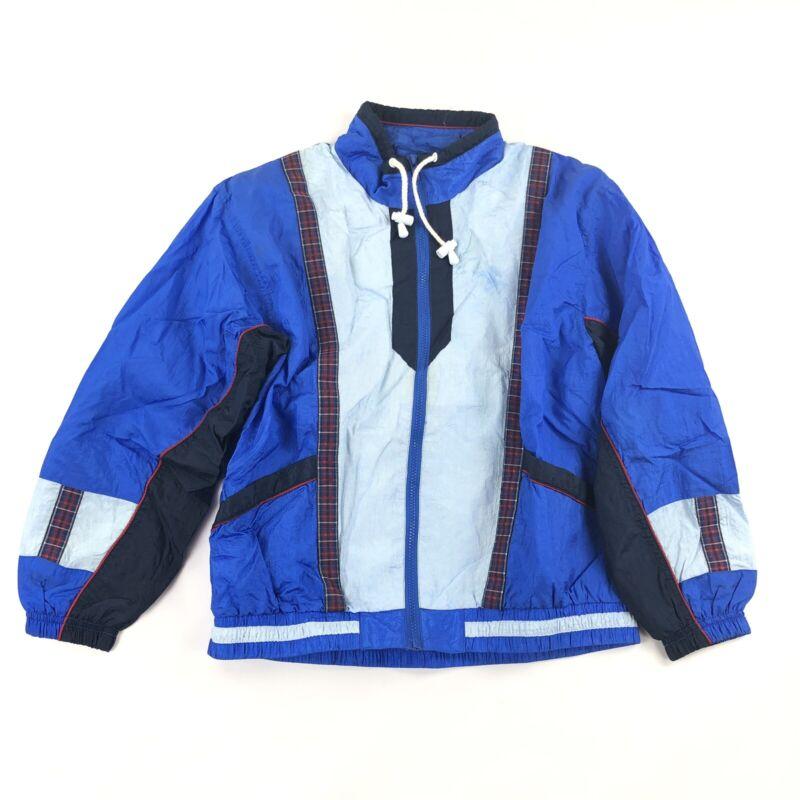 Vintage 80s Track Jacket Color Block Active Frontier PL Retro Windbreaker Plaid